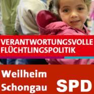 SPD Logo mit Flüchtlingskind und dem Titel verantwortungsvolle Flüchtlingspolitik