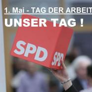 Logo SPD Würfel mit Schriftzug 1. Mai - Unser Tag